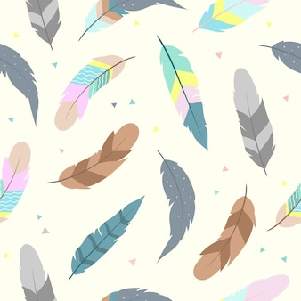 Cute feathers seamless pattern for wallpaper