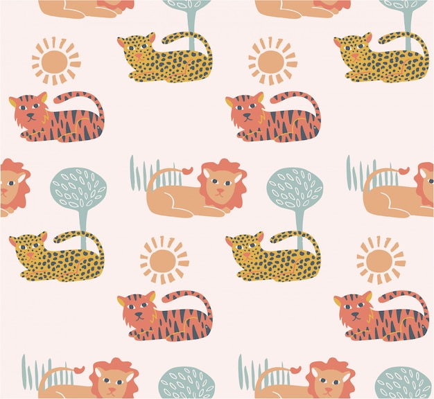 Cute felines seamless pattern