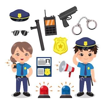 장비 세트 귀여운 여성 및 남성 경찰.