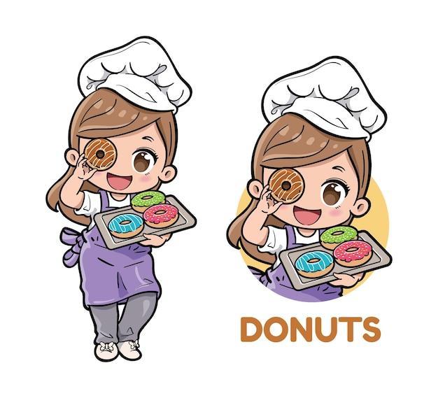 Симпатичный женский шеф-повар пекарни, несущий пончики на подносе