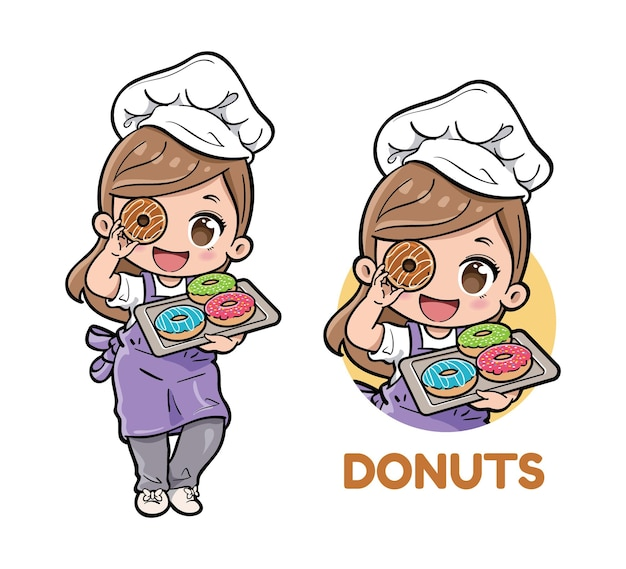 Cute female bakery chef carrying donuts on a tray