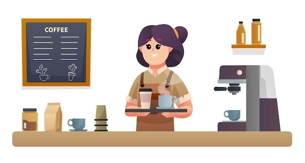 コーヒーショップカウンターイラストでトレイとコーヒーを運ぶかわいい女性バリスタ