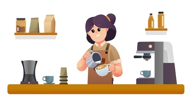 喫茶店カウンターイラストでコーヒーを作るかわいい女性バリスタ