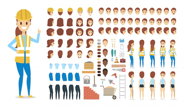 Cute female builder character in uniform set for animation with various views, hairstyles, face emotions, poses and equipment.   illustration