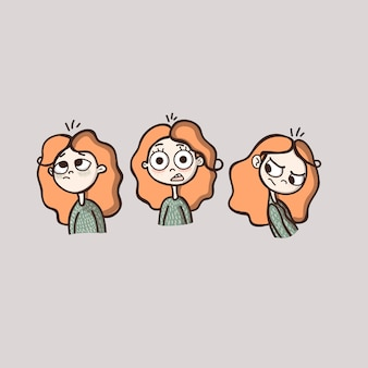 Cute female character in cartoon flat style different emotions