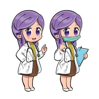 Набор милых персонажей-врачей
