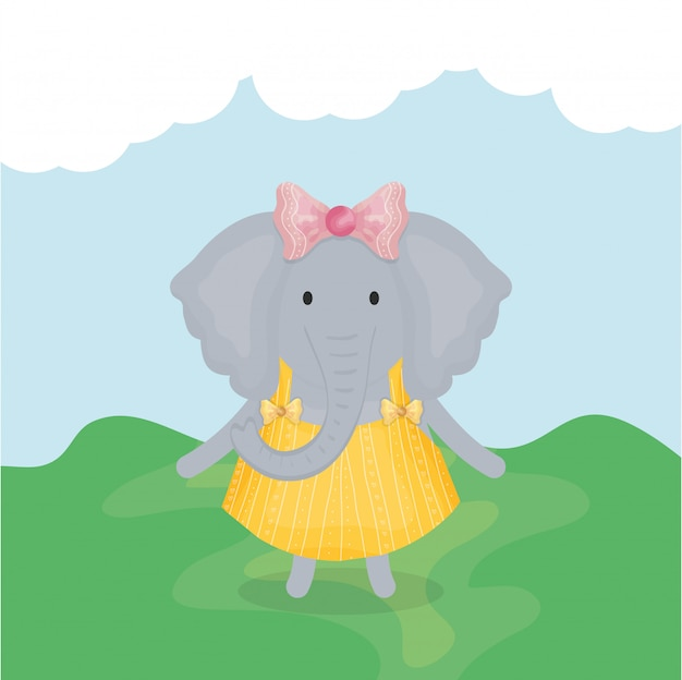 Cute female elephant with clothes character