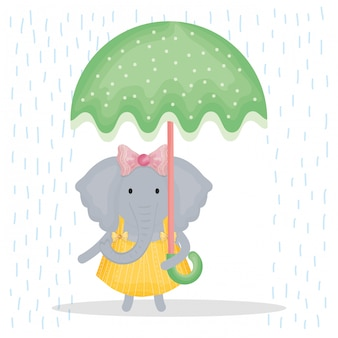Cute female elephant with umbrella character