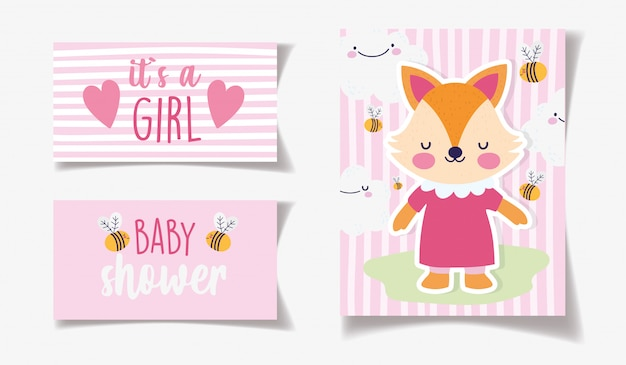 ドレスミツバチの装飾とかわいい女性キツネ、女の子のベビーシャワーカード
