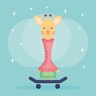 Cute female giraffe in skateboard character