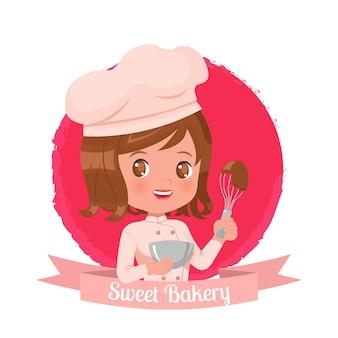 パン屋さんのかわいい女性のロゴのテンプレート。