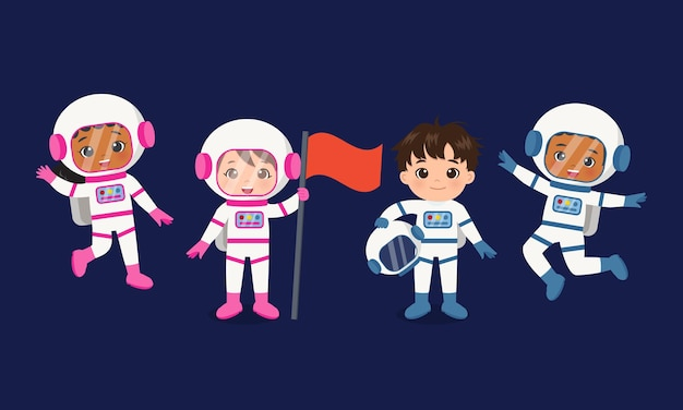 Cute female and male astronaut team flag vector cartoon design