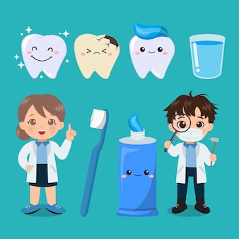 Cute female and male dentist oral care clip art flat vector cartoon design