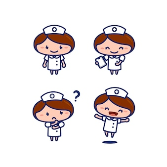 Cute female nurse medical staff cartoon character in chibi style set