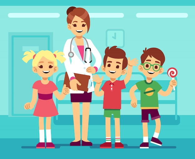 Cute female pediatrician doctor and happy healthy boys and girls in hospita