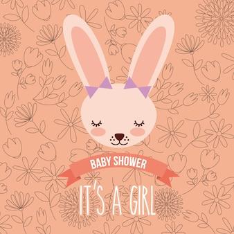 かわいい女性ウサギのベビーシャワーの女の子