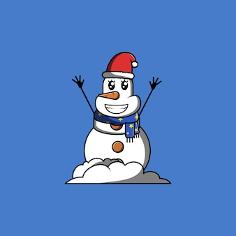 スカーフと冬の帽子の漫画のベクトル図で笑ってかわいい女性雪だるま