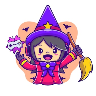 Cute female witch gaming cartoon vector icon illustration. halloween gaming icon