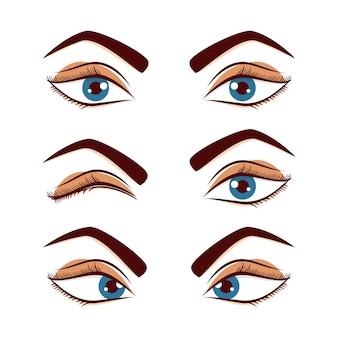 かわいい女性の女性の目と眉は白い背景で隔離のセット