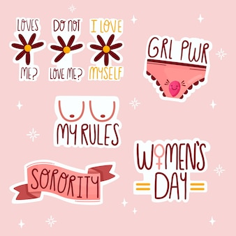 Cute feminist stickers collection