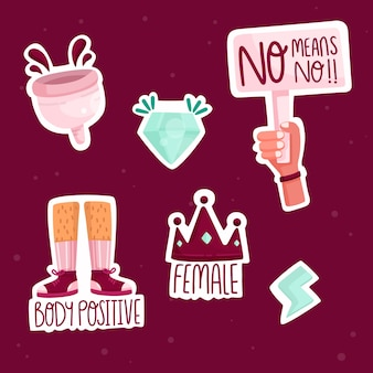 Cute feminist stickers set