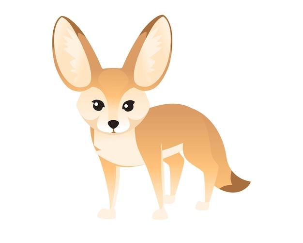 귀여운 fennec fox 그림 만화 동물 디자인 흰색 배경 측면보기.