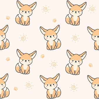 귀여운 페넥 여우 원활한 패턴
