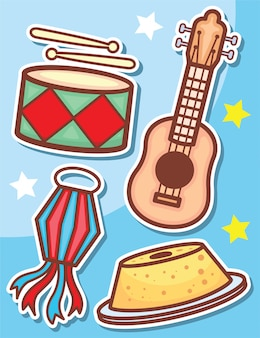 귀여운 축제 junina 개체 스티커