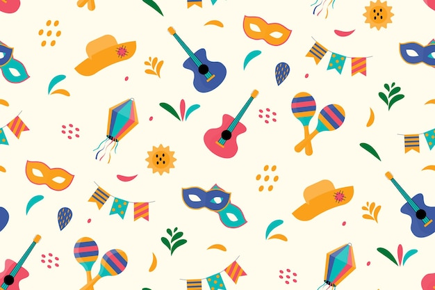 Cute festive seamless pattern  for festa junina festival.