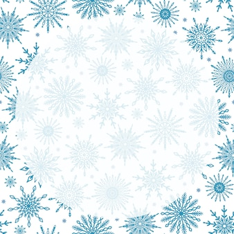 다양 한 눈송이 라운드 투명 복사 공간 귀여운 축제 겨울 시즌 패턴 배경