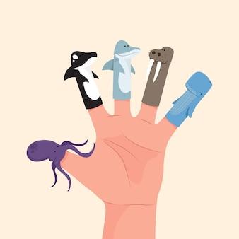 Collezione di pupazzi da dito carino