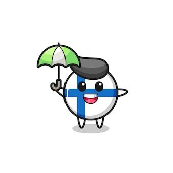 傘を保持しているかわいいフィンランド国旗バッジイラスト、tシャツ、ステッカー、ロゴ要素のかわいいスタイルのデザイン