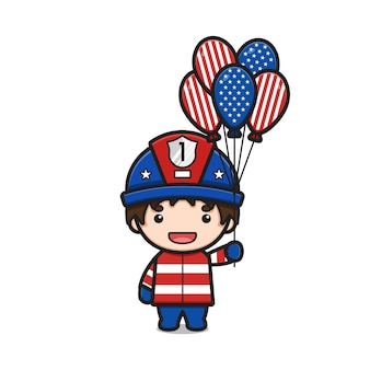 Cute fire fighter cartoon holding united states of america flag balloons illustration