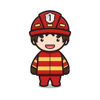 かわいい消防士のキャラクターは完全な制服漫画ベクトルアイコンイラストを着用します