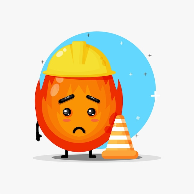 A cute fire mascot working at construction is frowning