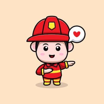 かわいい消防士が漫画のマスコットを軽くたたく