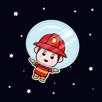 宇宙漫画のマスコットに浮かぶかわいい消防士