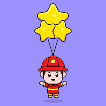 星の風船の漫画のマスコットと浮かぶかわいい消防士