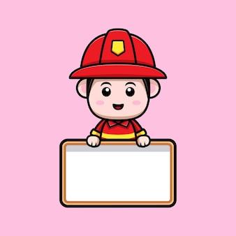 空白のテキストボードの漫画のマスコットを保持しているかわいい消防士