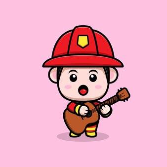 ギター漫画のマスコットを演奏するかわいい消防士