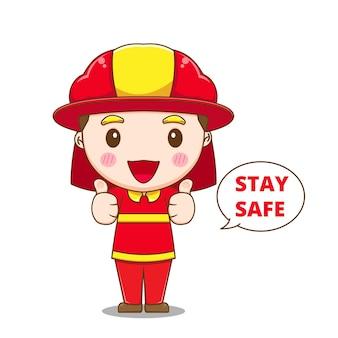 親指を立てるキャラクターのかわいい消防士