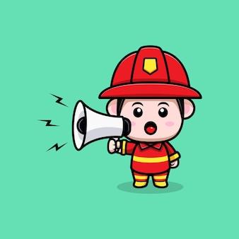 Cute firefighter speaking on megaphone cartoon mascot