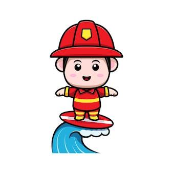 かわいい消防士サーフィン漫画のマスコット