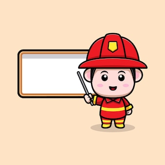 かわいい消防士の先生の漫画のマスコット