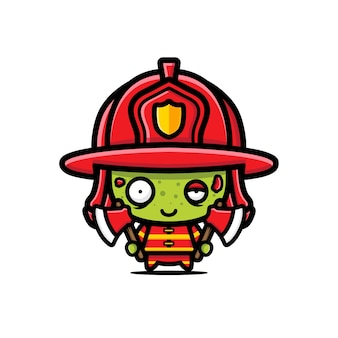 Cute firefighter zombie vector design