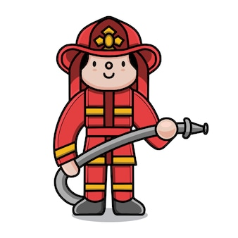 Cute fireman cartoon character