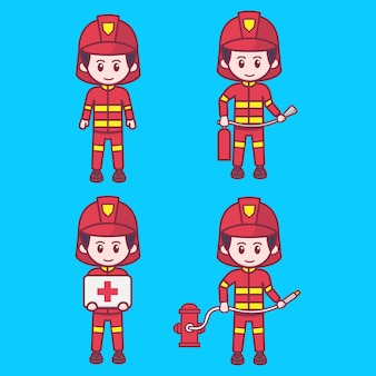 かわいい消防士の文字ベクトルイラストセット