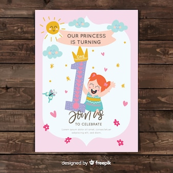 Cute first birthday card design
