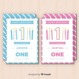 Cute first birthday card template