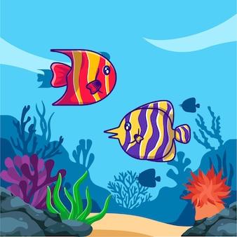 海のかわいい魚の動物漫画イラスト